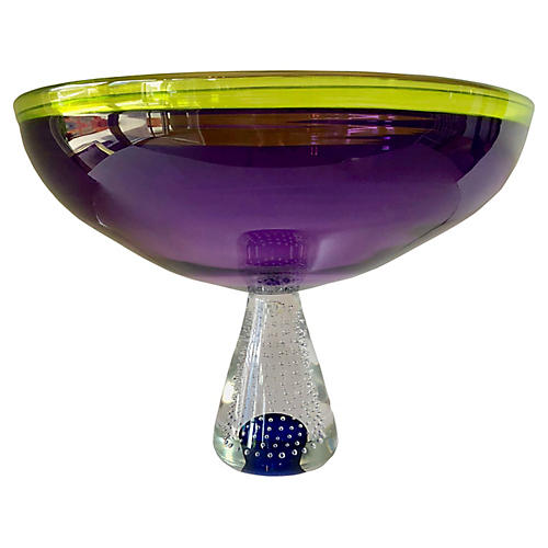 Purple Glass Bowl, Signed & Numbered
