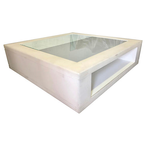 Oversized Frosted Lucite Coffee Table