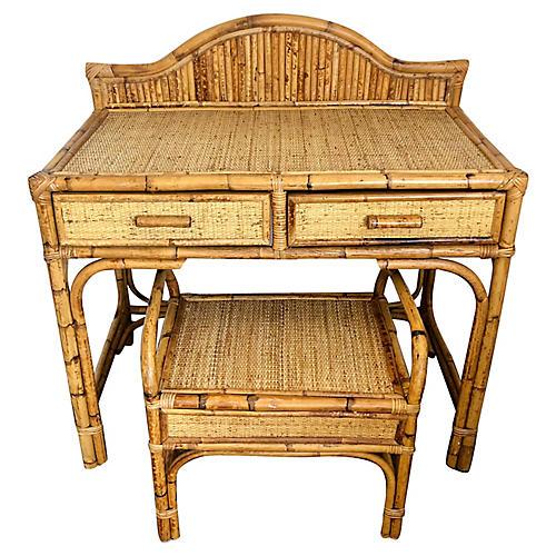 Bamboo & Rattan Vanity & Bench