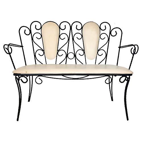 Midcentury Wrought Iron Bench