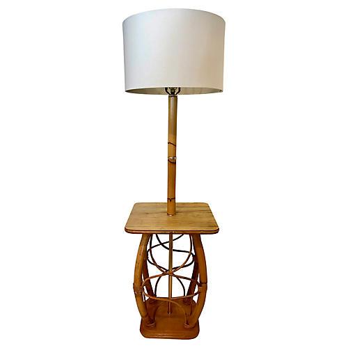 Vintage Bamboo & Wood Floor Lamp