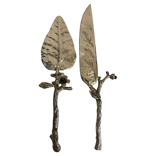 Faux Branch/Glass Flowers Cake Servers