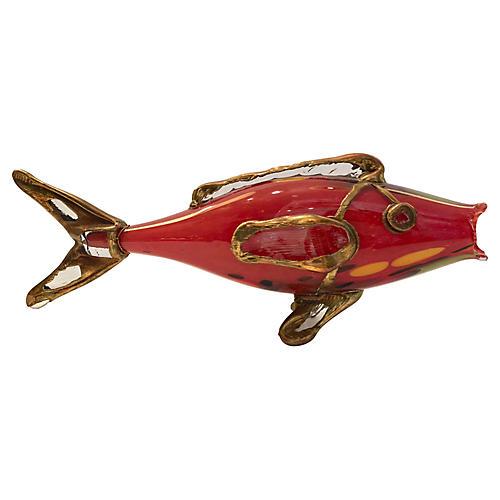 Murano Glass & Brass Fish