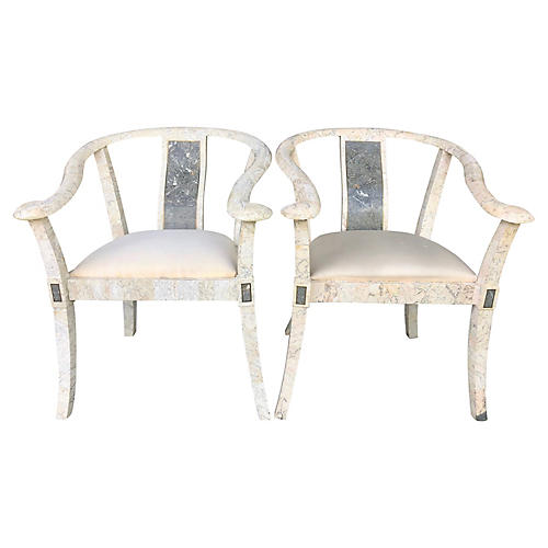 M.Smith Tessellated Stone Chairs, Pair