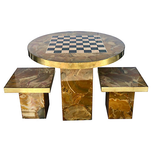 Italian Chess Game Table w/ 2 Stools