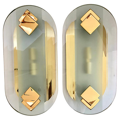 FratelliMartini Luce Glass Brass Sconces