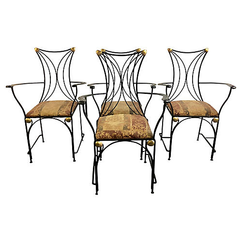 1940s Iron & Brass Chairs, S/4