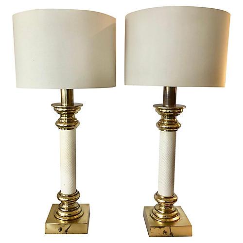 Stiffel Brass/Leather Column Lamps/Pair
