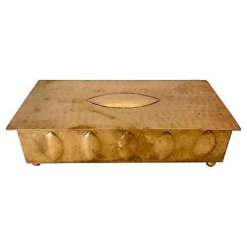 Hammered Brass Box w/ Wood Interior