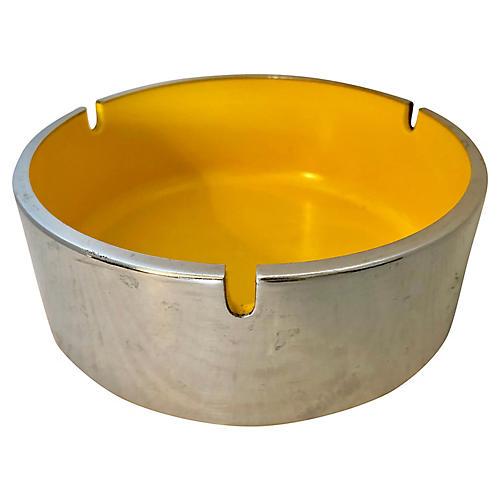 Yellow Bakelite & Chrome Ashtray