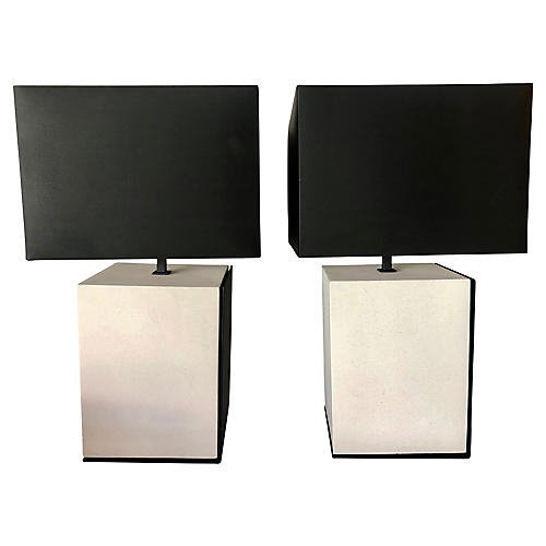 Off White Stone & Black Iron Table Lamps