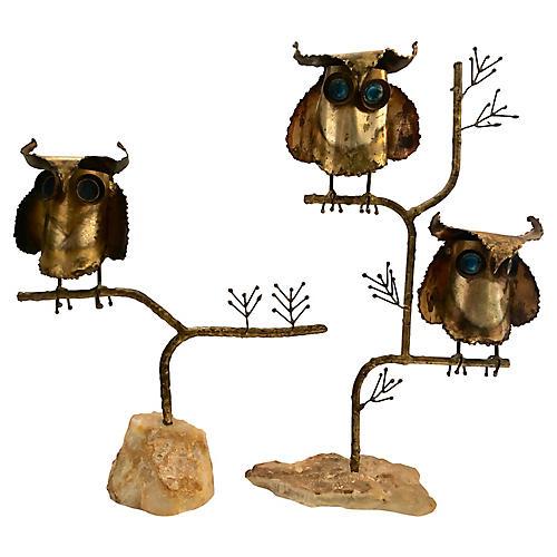C. Jeré Brutalist Owl Sculptures, S/2