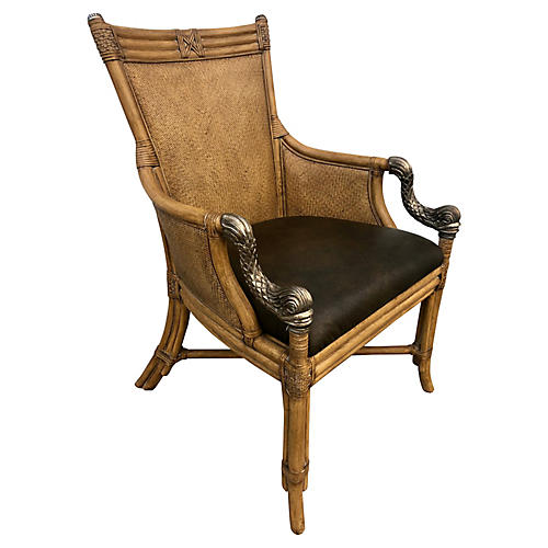 Rattan Leather and Metal Accent Chair