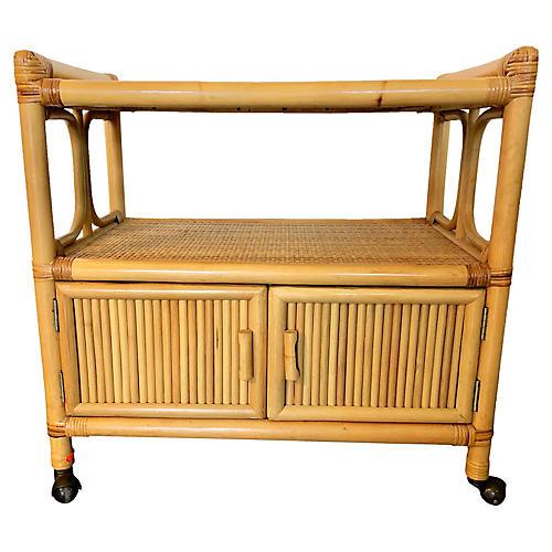 Bamboo & Raffia Bar Cart