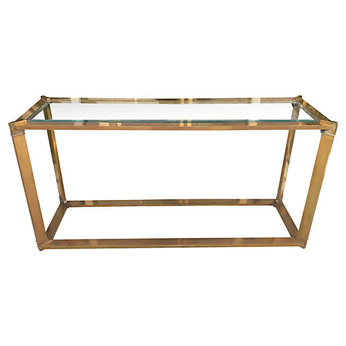 Solid Brass & Glass Console