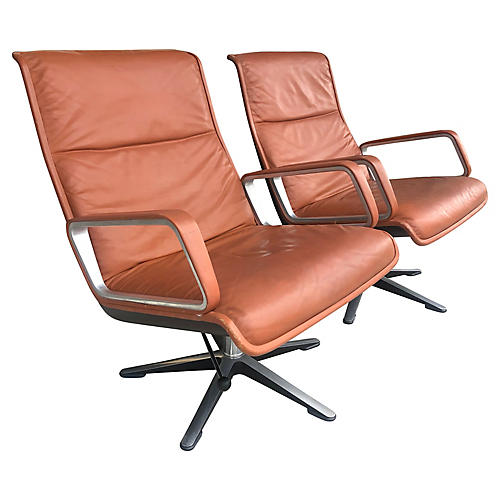 1970s Leather Lounge Chairs, Pair