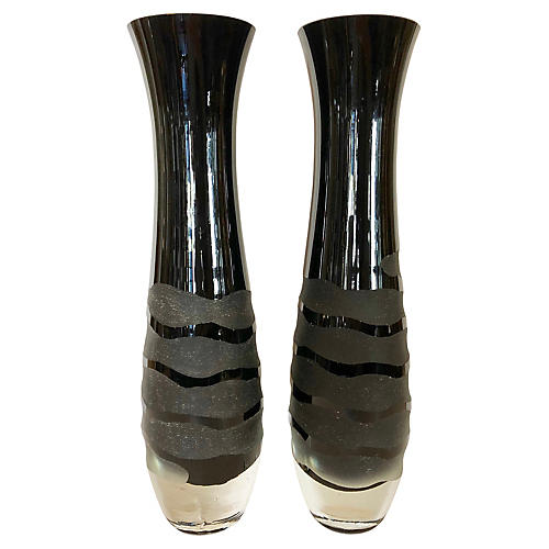 Black Murano Vases, Pair