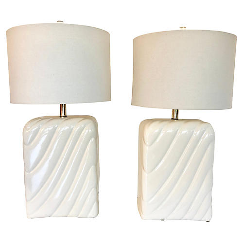 Tommaso Barbi-Style Table Lamps, Pair