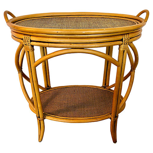 Bamboo, Rattan & Wood Tray Table