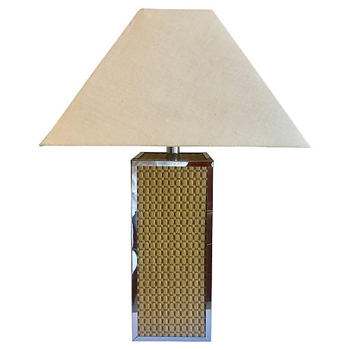 Natural Fiber & Chrome Table Lamp