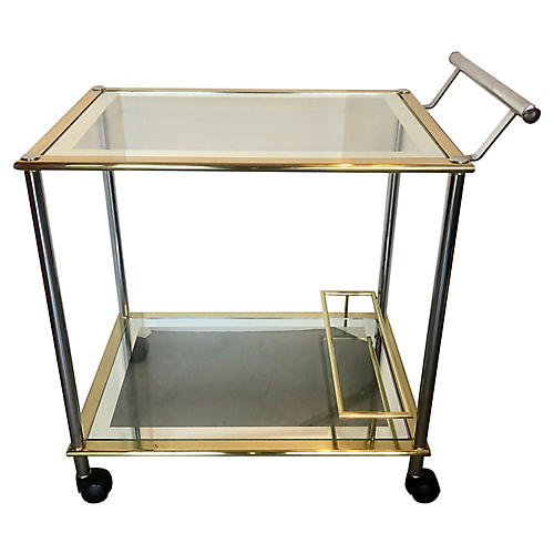Chrome & Gold Bar Cart