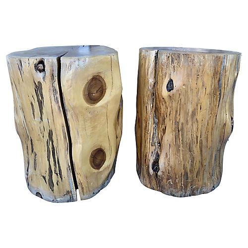 Tree Trunk Stools, Pair
