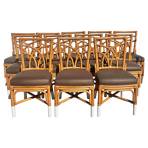 Bamboo & Leather Dining Chairs, S/12