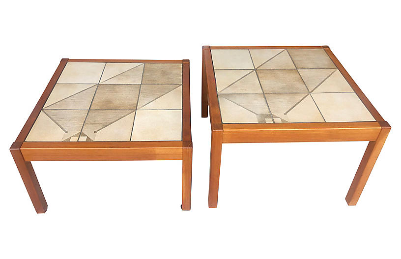Danish Tile-Top Side Tables, S/2