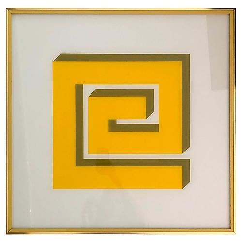 1970s Reverse Geometric Art on Glass