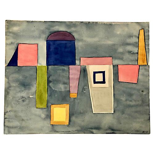 Abstract Watercolor '55 M. Bevington