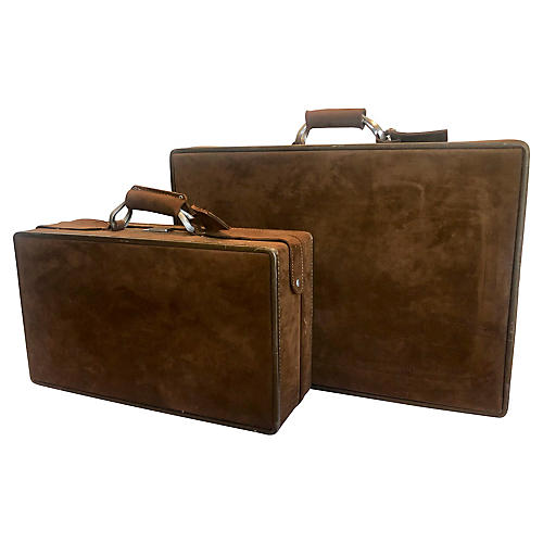 70s Dark Brown Ultrasuede Luggage, S/2
