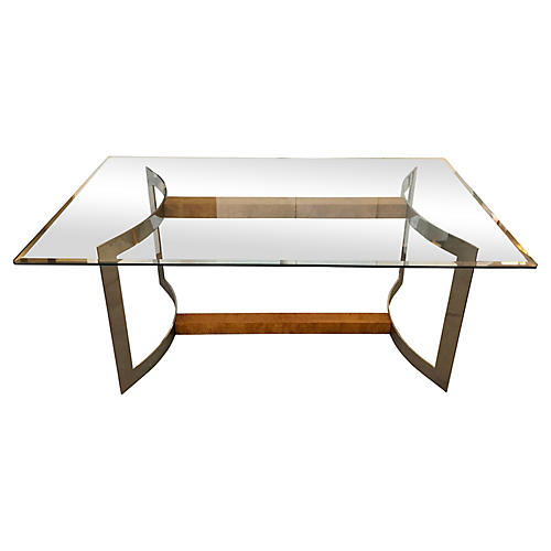 Burlwood, Stainless Steel, Glass Table