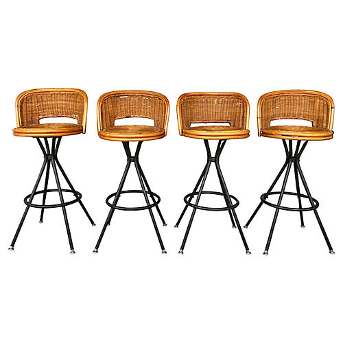 Midcentury Wicker/Bamboo Barstools/4