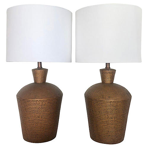 1970's Copper Finish Table Lamps/2
