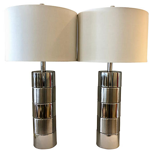 Two Tones Chrome Table Lamps/2