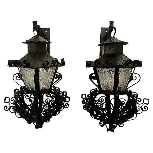 Pair Midcentury Outdoor Sconces