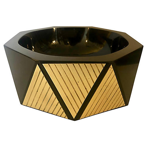 Black Glass & Brass Geometric Bowl