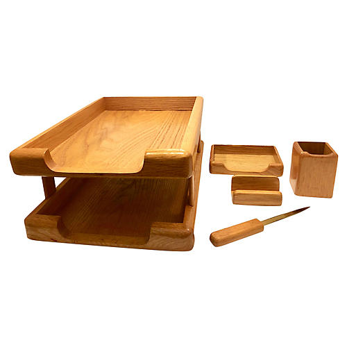 Wood Desk Set, 5 pcs
