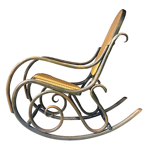 Thonet Style Green Rocking Chair