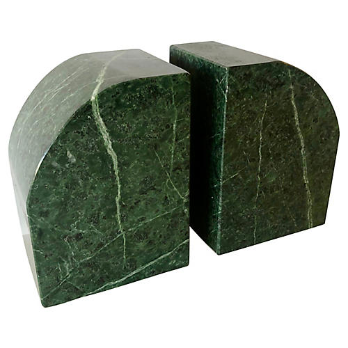 S/2 Green Marble Bookends