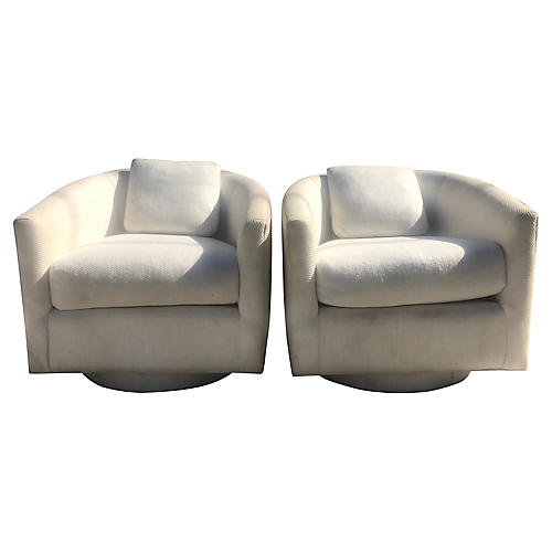 Sleek Design Swivel Chairs, Pair
