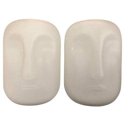 Frosted Glass Face Vases, Pair