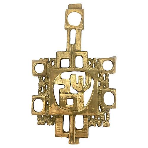 Brutalist Solid Brass Trivet