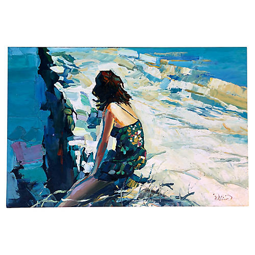 Woman On Abstract Landscape/Signed
