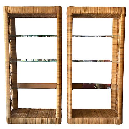 Rattan Etageres From 70's, Pair