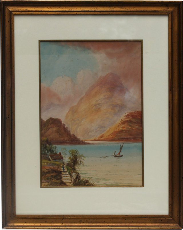 Lakescape Watercolor by Edwin Newton