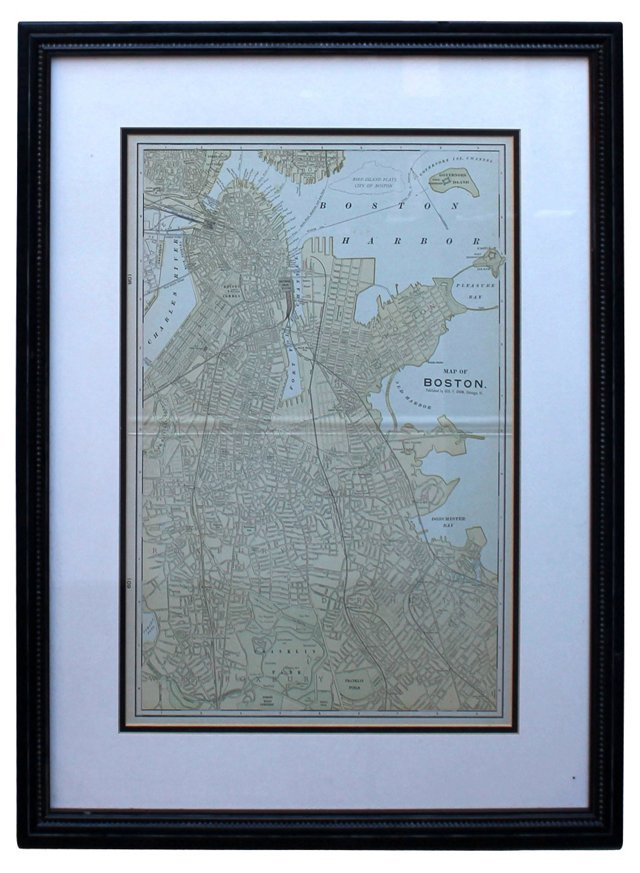 Boston Map by G. Cram