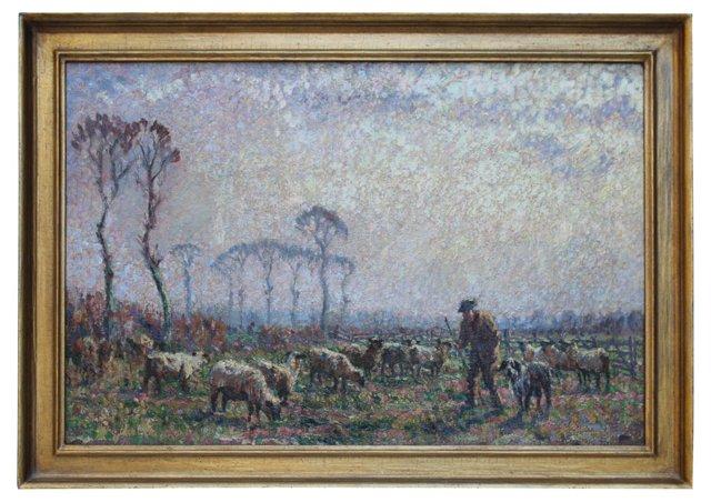Shepherd & Sheep by H. Fidler