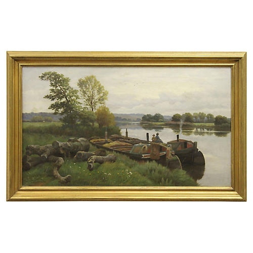 River Barge Landscape by W.S. Cooper