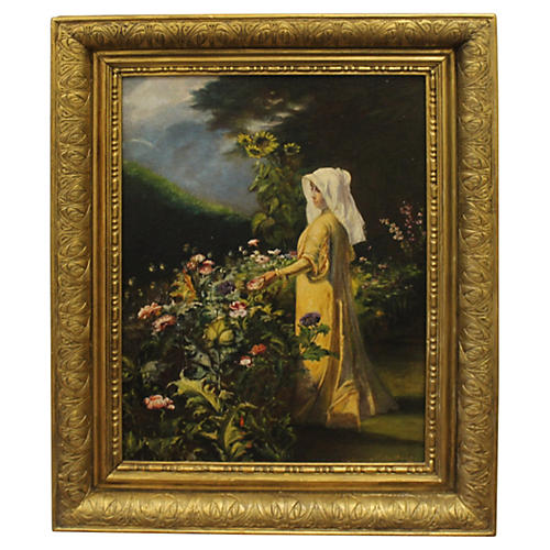 Maiden in Flower Garden by N. Vermont